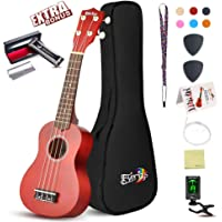 Soprano Ukulele Beginner Pack-21 Inch w/Gig Bag Fast Learn Songbook Digital Tuner All in One Kit