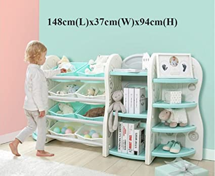 Toy Storage Organizer For Kids Collection, Deluxe Plastic Bookshelf With 8 Toy  Organizer