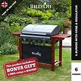 BillyOh Acorn Hooded 6 Burner Gas BBQ Grill with Free Propane Regulator