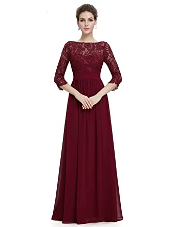 Angel Formal Dresses Womens Lace and Chiffon Formal Evening Dresses With Sleeves ...