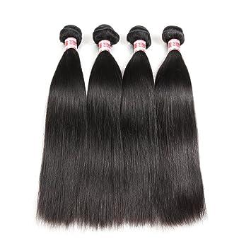 Amazon.com   Hermosa Brazilian Straight Hair 4 Bundles 14 16 18 20inch 7A  Unprocessed Virgin Brazilian Straight Human Hair Weave Bundles Natural  Black Color ... 4a0b11ed8a50