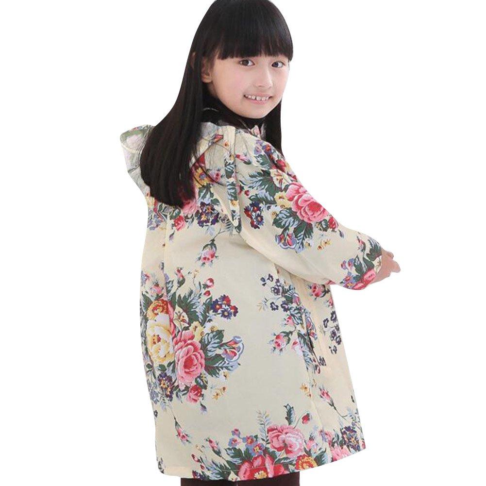Highdas imperméable à l'eau imperméable et imperméable Outwear veste avec motif de graffiti animal mignon pour les filles 100cm