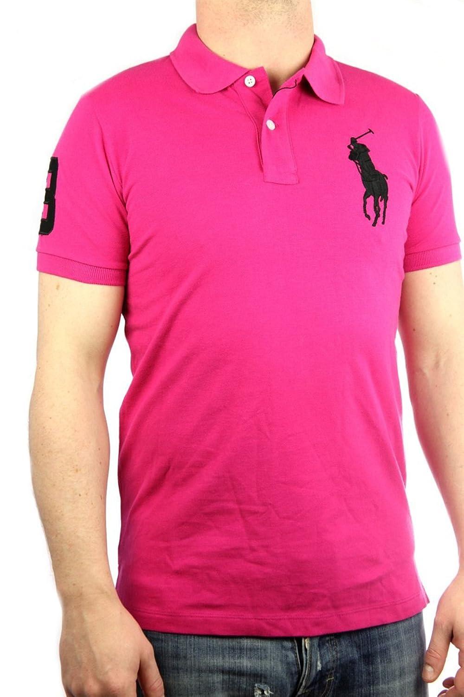 Polo by Ralph Lauren Big Pony Mens Polo-Shirt pink, slim fit, men shirt:  Amazon.co.uk: Clothing