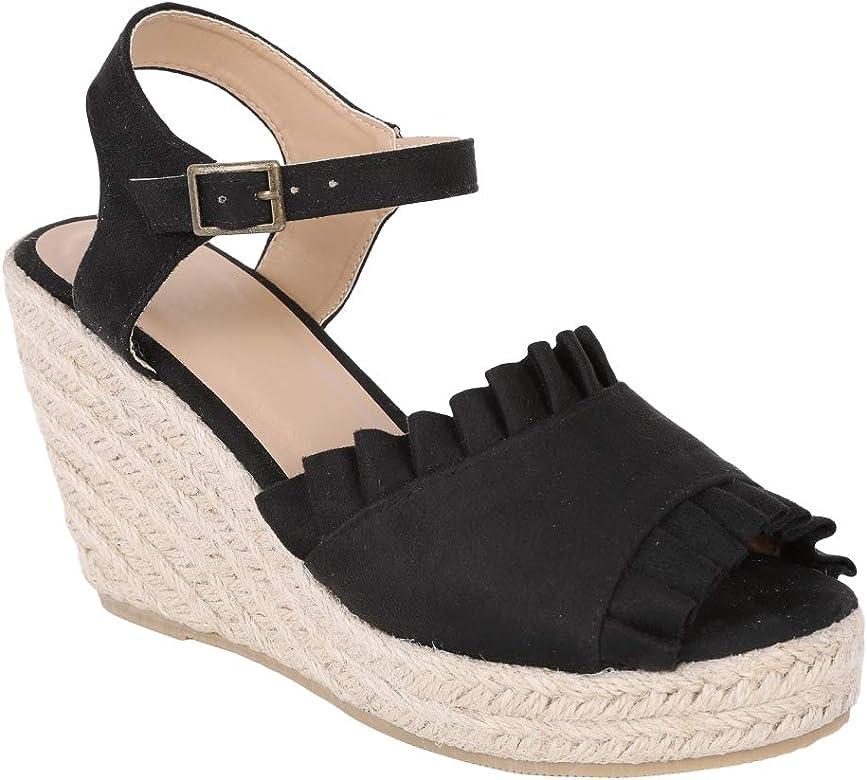 c961c59b4c6 Womens Ruffle Espadrille Wedge Sandals Open Toe Ankle Strap Platform Heels  Shoes