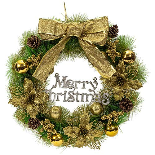 WATTA Christmas Wreath, Artificial Garland Ornaments for Front Door Wall Windows, Poinsettia Xmas Decoration with Gold Bowknot, Bells, Gifts for Christmas Party (19.6