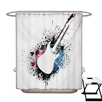 BlountDecor Guitar Shower Curtains Digital Printing Abstract Silhouette Of Musical Instrument With Grungy Color Splashes Creating