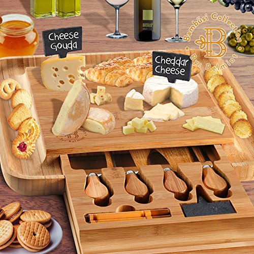 Cheese Tray 100% Pure Bamboo Cheese Board with Cutlery Set Cheese Labels & Chalk Markers, Cheese Plates Serving Meat Board, by: Bambüsi (Brown Season Serving Plate)