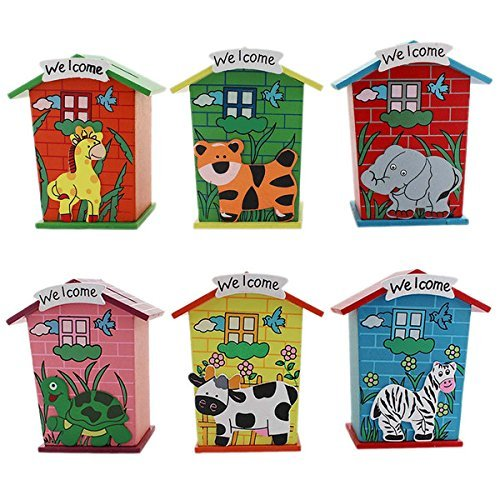 Home Buy Piggy Bank Wood House Animal Designs Multi Color Pack Of 6