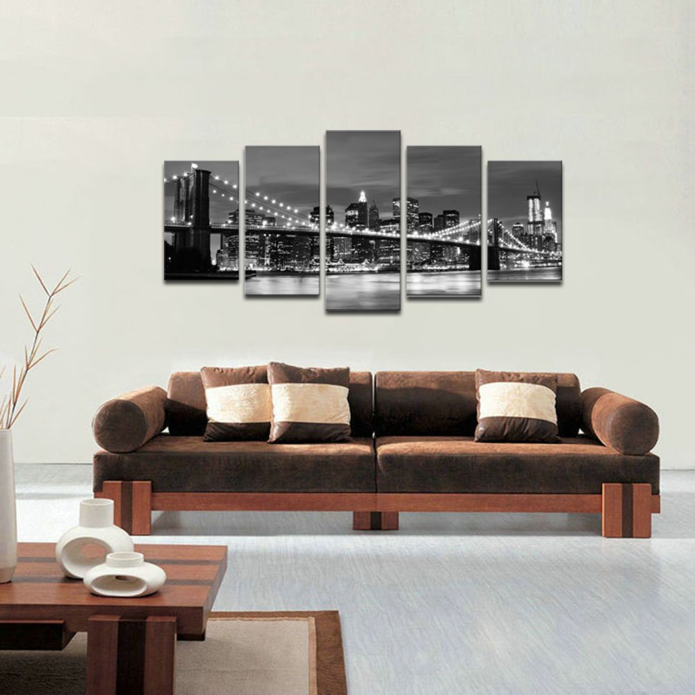 Wieco Art Brooklyn Bridge Night View 5 Panels Modern Landscape Artwork Canvas Prints Abstract Pictures Sensation to Photo Paintings on Canvas Wall Art for Home Decorations Wall Decor by Wieco Art