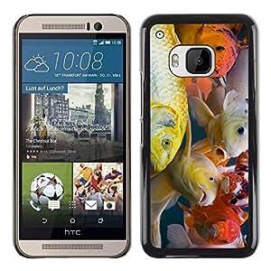 TopCaseStore / la caja del caucho duro de la cubierta de protección de la piel - Colorful Koi Fish - HTC One M9