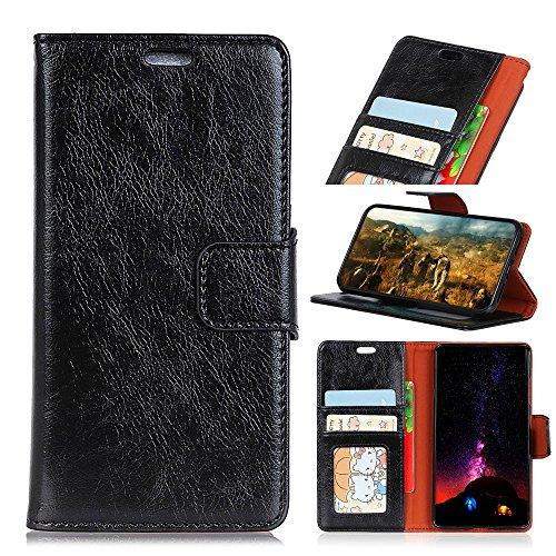 Scheam Motorola Moto G6 Case, Motorola Moto G6 Leather Wallet Case Book Design Flip Cover Stand [Credit Card Slot] Cover Case Motorola Moto G6 - Black (Star Pocket Ri)