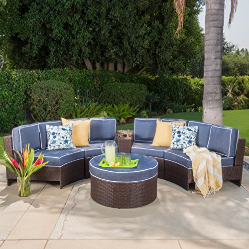 Riviera Portofino Outdoor Patio Furniture Wicker 6 Piece Semicircular Sectional Sofa Seating Set w/ Waterproof Cushions (Standard Ottoman, Navy Blue) - 6 Piece Seating