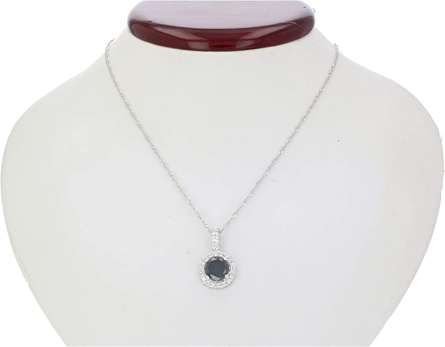 Gift For Her Black Diamond NecklacePendant 1.50 Carat Necklaces for Women with Black Diamond In Sterling Silver Pendantnecklace