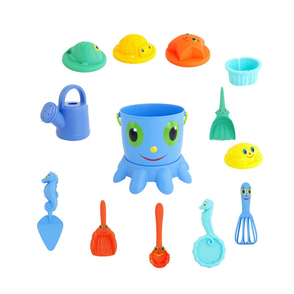 Toyvian 14pcs Juguete de Playa Juguete de Cubo de Pulpo con Pala rastrillo Cubo tamiz Animal moldes regadera