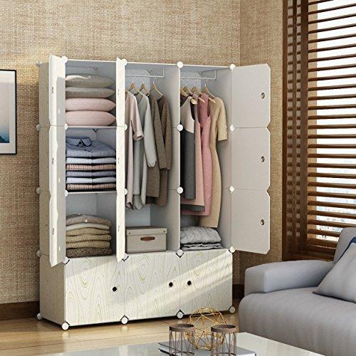 MAGINELS Portable Closet Clothes Wardrobe Bedroom Armoire Storage Organizer with Doors, 6 Cubes & 2 Hanging Sections, Wood Grain (Bedroom Wardrobe Doors)