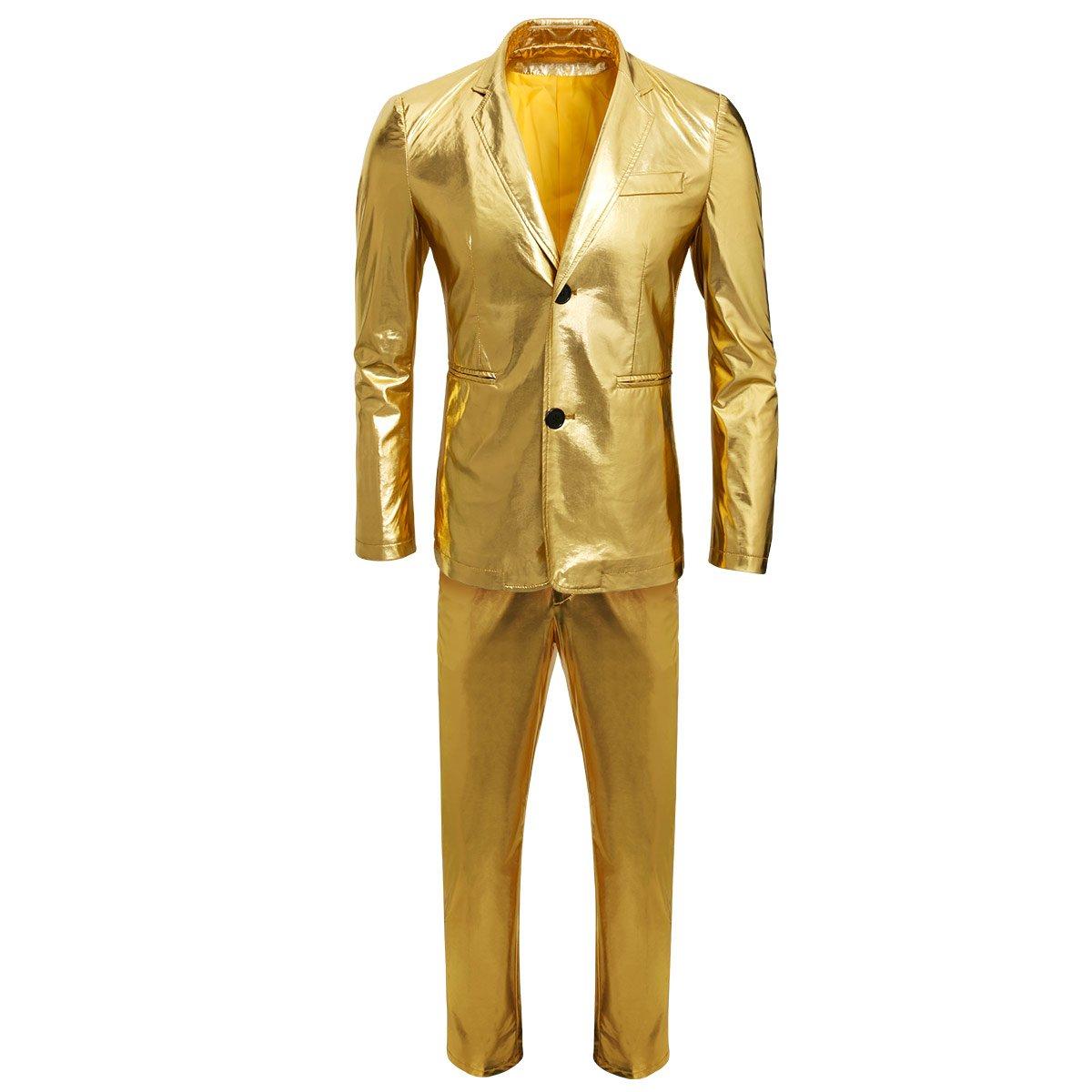CUSFULL Chaqueta Casual Dorado Brillante para Hombre ...