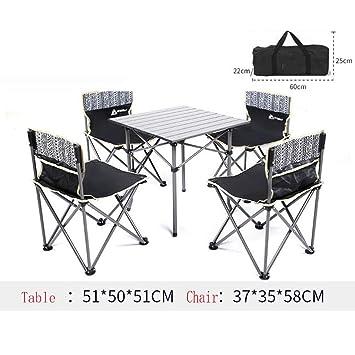 UNAU Mesa y sillas Plegables para Exteriores, Juego de ...