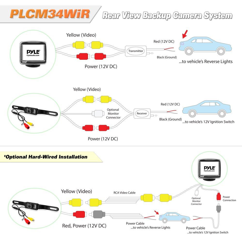 61o1iKcanbL._SL1000_ amazon com pyle wireless backup car camera rearview monitor CCTV Connections and Diagram at nearapp.co