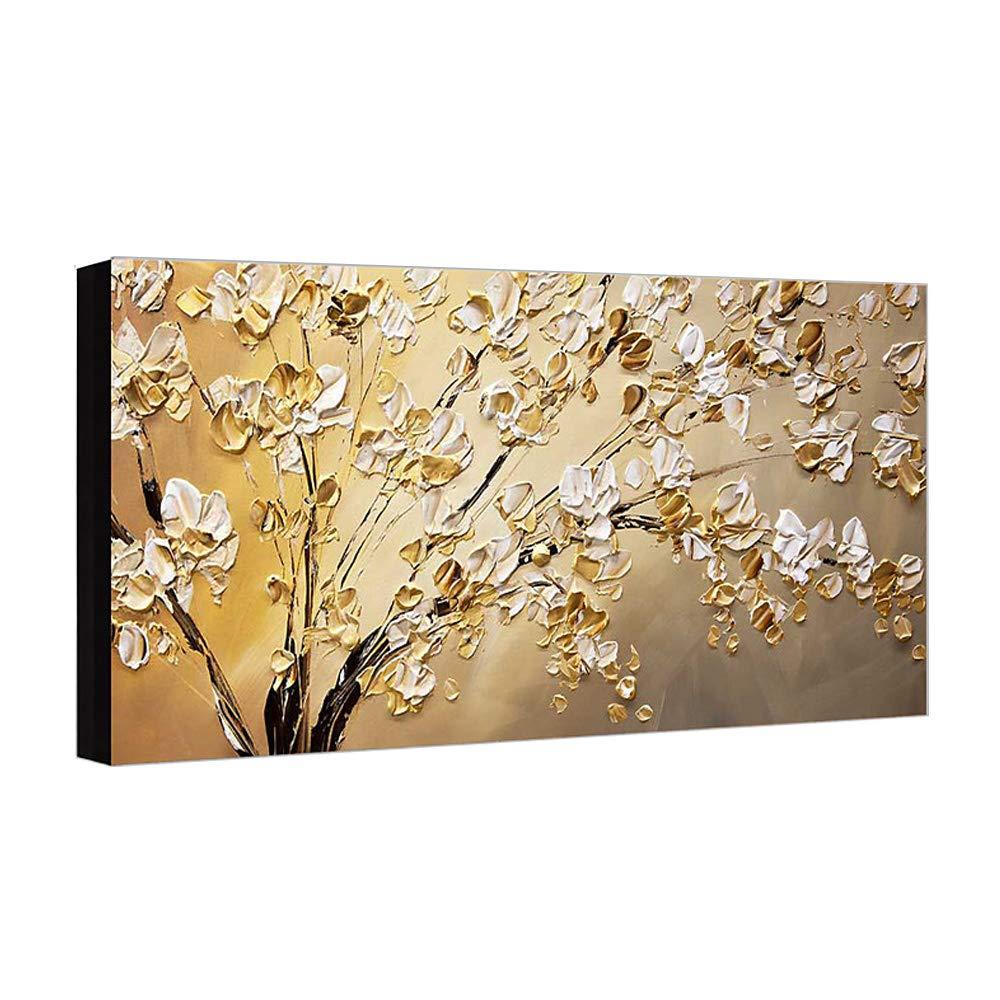 Handgemaltes Acryl öL GemäLde Bild Blumen Auf Leinwand Moderne Kunst Wandbild Wohnzimmer Wand Dekoration 60×120cm,Innerframe
