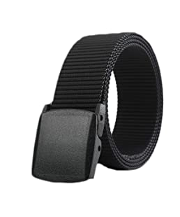ZORO Men's Army Tactical Waist Belt Automatic Buckle Nylon Canvas Survival Strap, Black, ZR-NB40-BK-49