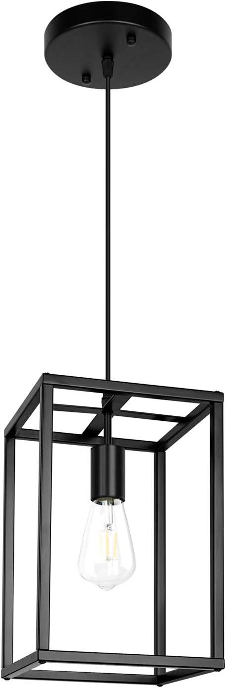Pendant Light, Industrial Retro Loft Design, Black Rectangle Cage Hanging Ceiling Lamp, Retro Lighting Fixture for Kitchen Island Dining Room… (Hardware)