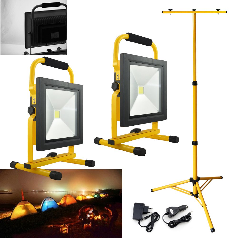 VINGO® 2x 10W LED Kaltweiß 2200mA Akku Strahler Flutlicht 900LM Ultra Helle Scheinwerfer handlampe Tragbare Beleuchtung mit Dopel Stativ fsders