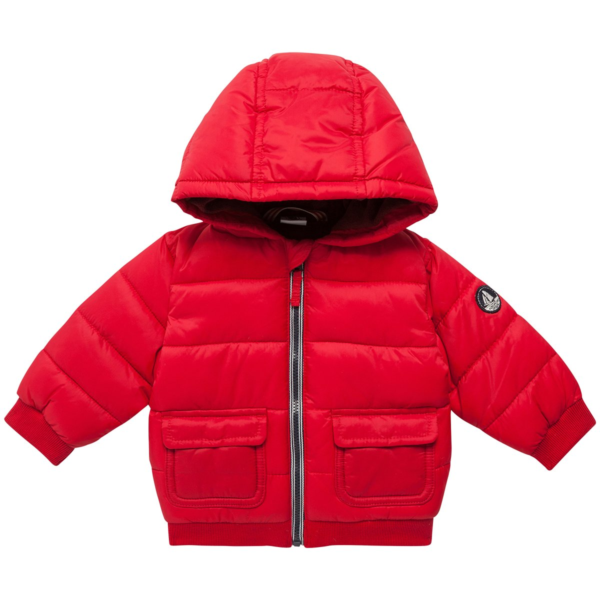 Petit Bateau Baby Boys' Puffy Hooded Coat, Red, 24 Months