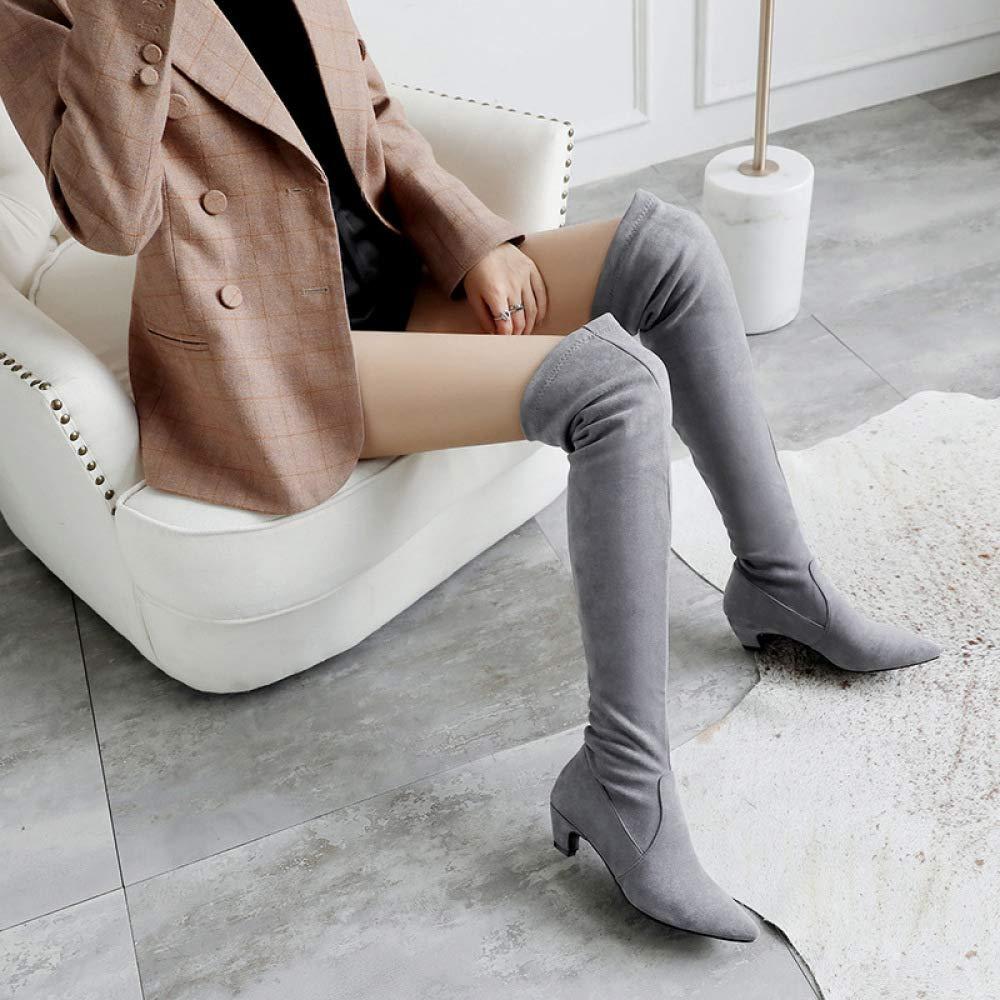 QINGMM Frauen Wildleder Über Dem Stiefel Knie Stiefel Dem 2018 Herbst Winter Spitze Low-Ferse Ritter Stiefel Größe 32-46 a13eca