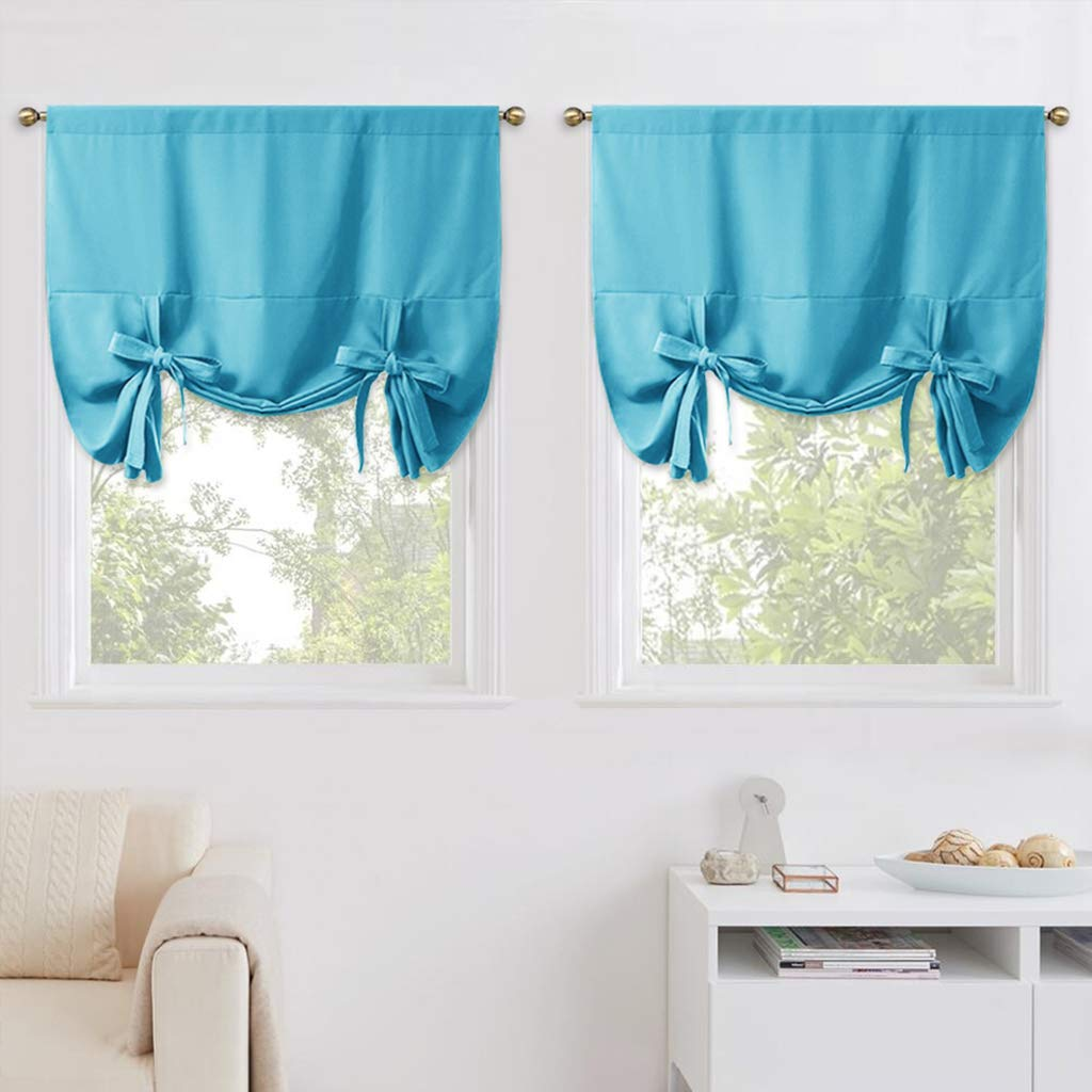 """NICETOWN Balloon Shades for Small Window - Window Treatment Energy Efficient Balloon Curtains Kitchen Decor (2 Pieces, Teal Blue=Light Blue, Rod Pocket Panel, 46"""" W x 63"""" L)"""
