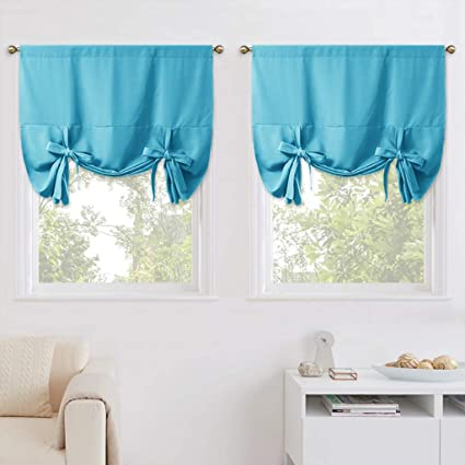 Nicetown Balloon Shades For Small Window Window Treatment Energy Efficient Balloon Curtains Kitchen Decor 2 Pieces Teal Blue Light Blue Rod