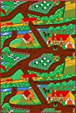 Children's Cool Playful Farm 5x7 Rug Cows Horses Pinks Actual Size 4'11 x 6'10
