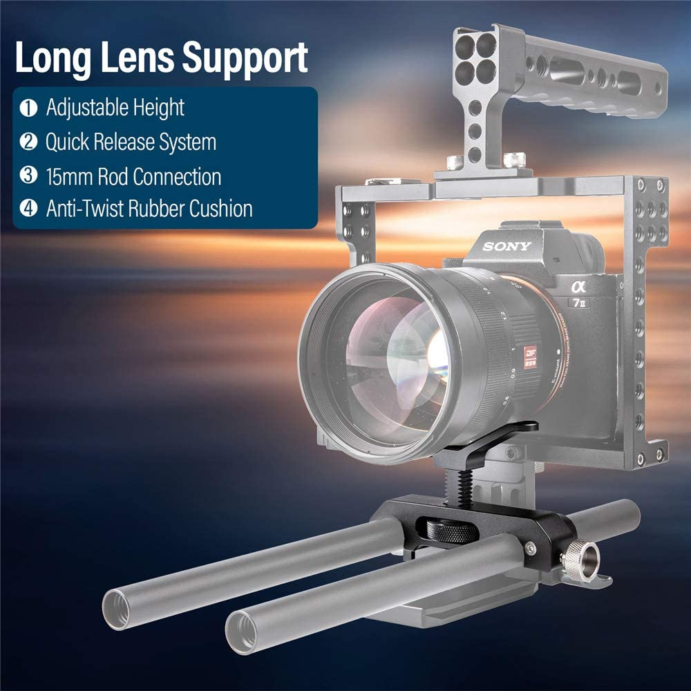 FANSHANG Universal Lens Support Bracket 15mm LWS Rod Mount Quick Release with Rod Clamp Y-Shape Y-Bracket FT-21