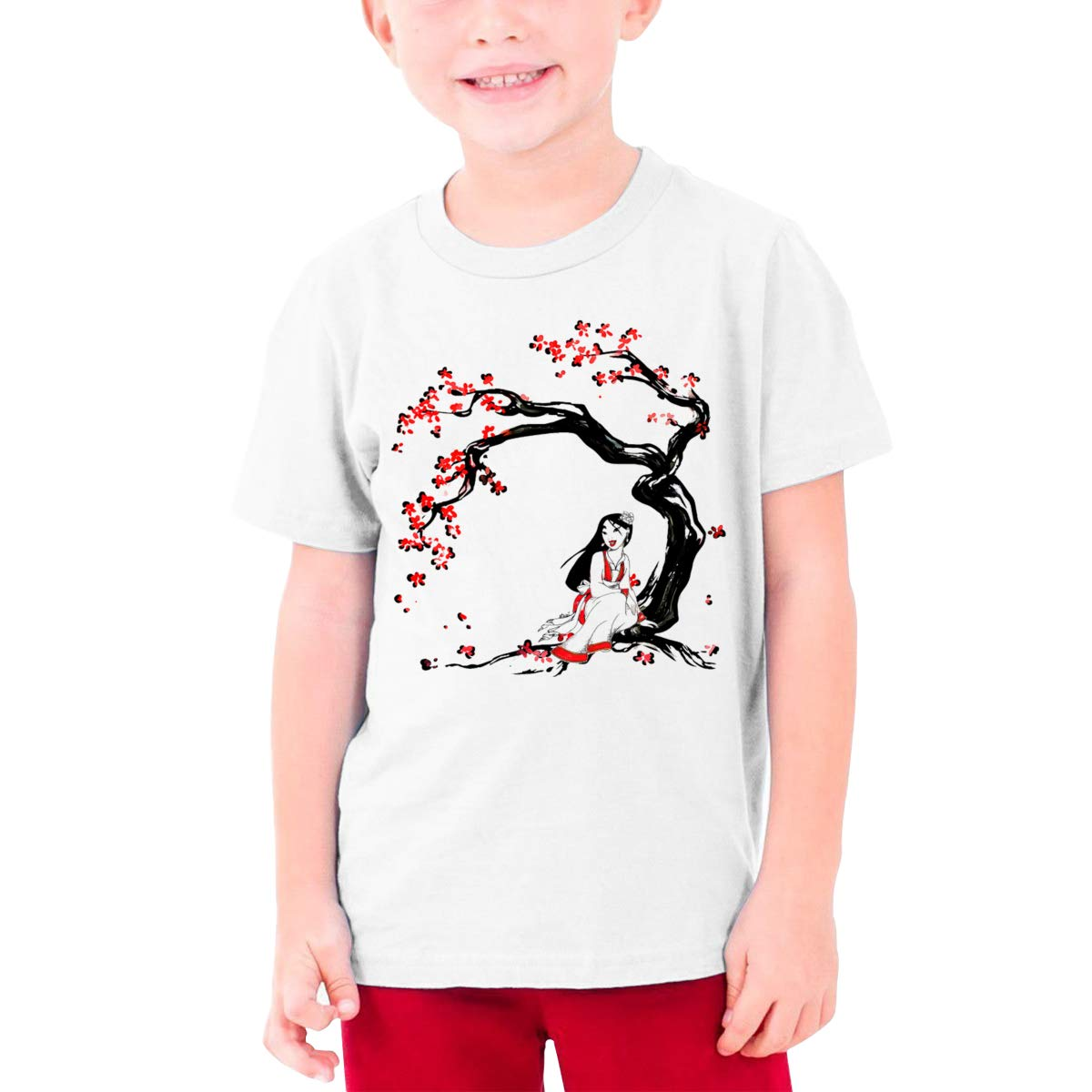 ANDREW RUBIE Mushu Catoon Boys Short-Sleeved White T-Shirt