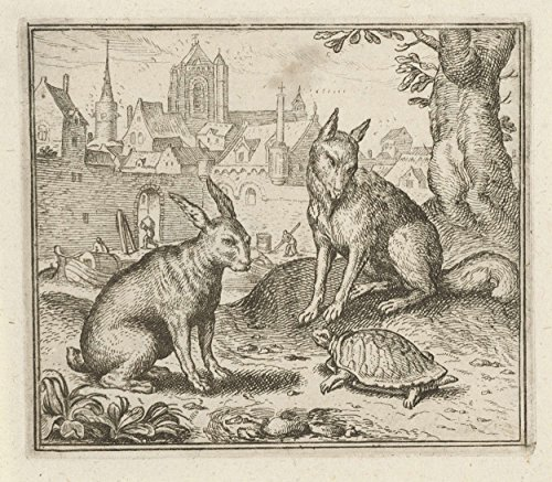 Classic Art Poster - Fable of the tortoise and the hare, Aegidius Sadeler, 1608