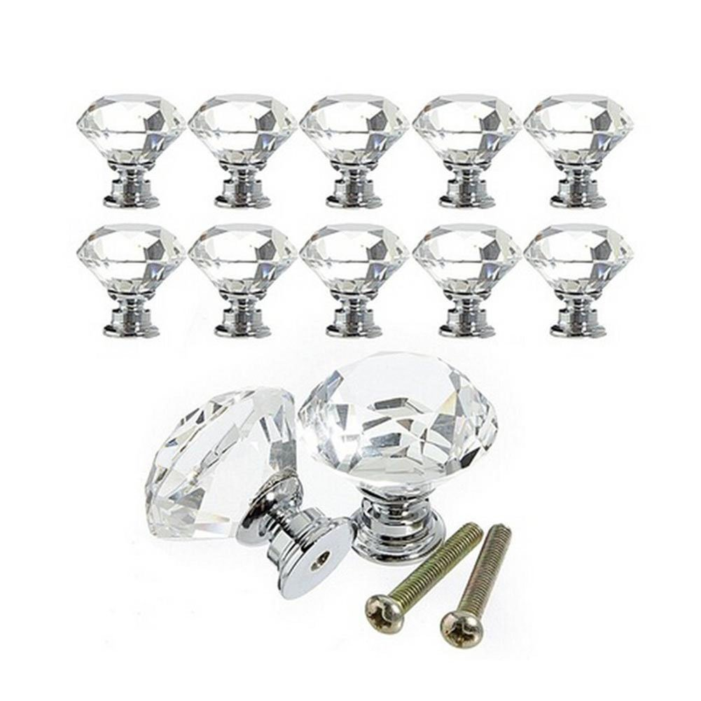 Rommeka 12Pcs Door Knobs Crystal 30mm Diamond Shape for Cupboard/Drawer Dresser Wardrobes Doorknob, Bathroom Cabinets, Shutters Pull Handles with Screws (White-12pcs)