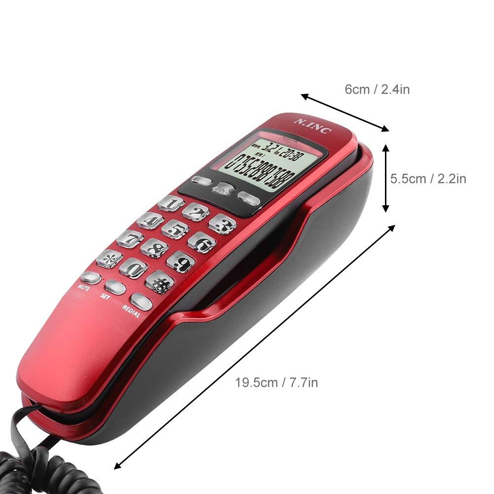 Rojo Wendry Mini Tel/éfono de Pared en Oficina o en Casa Telefono Fijo de Hotel Llamada Entrante ID Tel/éfono Fijo Tel/éfono con Cable LCD Pantalla