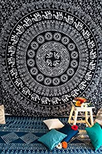 Folkulture Elephant Mandala Wall Tapestry Hippie Bohemian Wall Hanging, Indian Ombre Bedding Bedspread Set for Bedroom, College Dorm Room Wall Art or Home Decor, Boho Coverlet