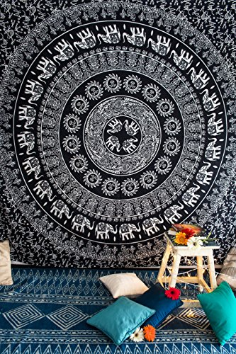 Bohemian Mandala Tapestry Wall Hanging Hippie Elephant Art, Indian Ombre Bedding Bedspread Set for Bedroom, College Dorm Room Accessories or Home Decor, Boho Beach Blanket - Queen Size, Black White