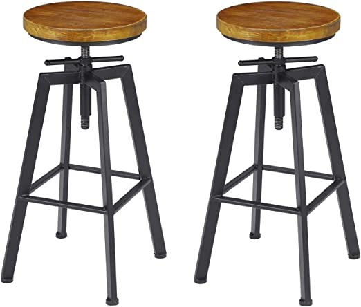 Amazon Com Vilavita 2 Set Bar Stools 24 8 Inch To 30 8 Inch Adjustable Height Swivel Counter Height Bar Chair Retro Finish Industrial Style Wood Barstools Kitchen Dining