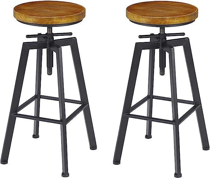 Vilavita 2 Set Bar Stools 24 8 To 30 8 Adjustable Height Swivel Counter Height Bar Chair Retro Finish Industrial Style Wood Barstools Amazon Ca Home Kitchen