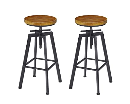 detailed look 4e128 bbff7 VILAVITA 2-Set Bar Stools, 24.8 Inch to 30.8 Inch Adjustable Height Swivel  Counter Height Bar Chair, Retro Finish Industrial Style Wood Barstools
