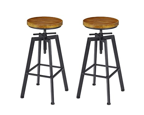 Super Vilavita 2 Set Bar Stools 24 8 Inch To 30 8 Inch Adjustable Height Swivel Counter Height Bar Chair Retro Finish Industrial Style Wood Barstools Ocoug Best Dining Table And Chair Ideas Images Ocougorg