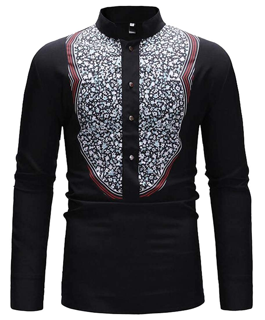 WSPLYSPJY Mens African Long Sleeve Ethnic Printed Button Down Shirt