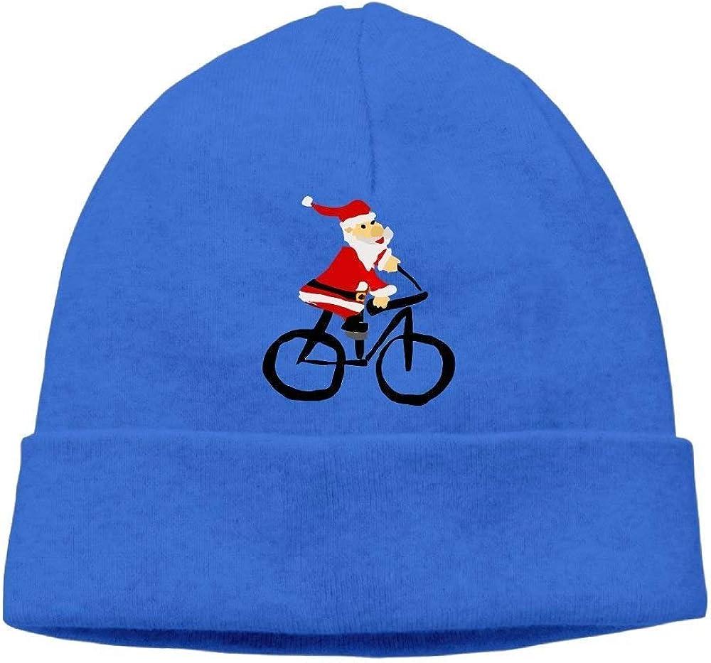 boy Unisex Christmas Santa Claus Ride Bicycle Classic Fashion Daily Beanie Hat Skull Cap Go Ahead