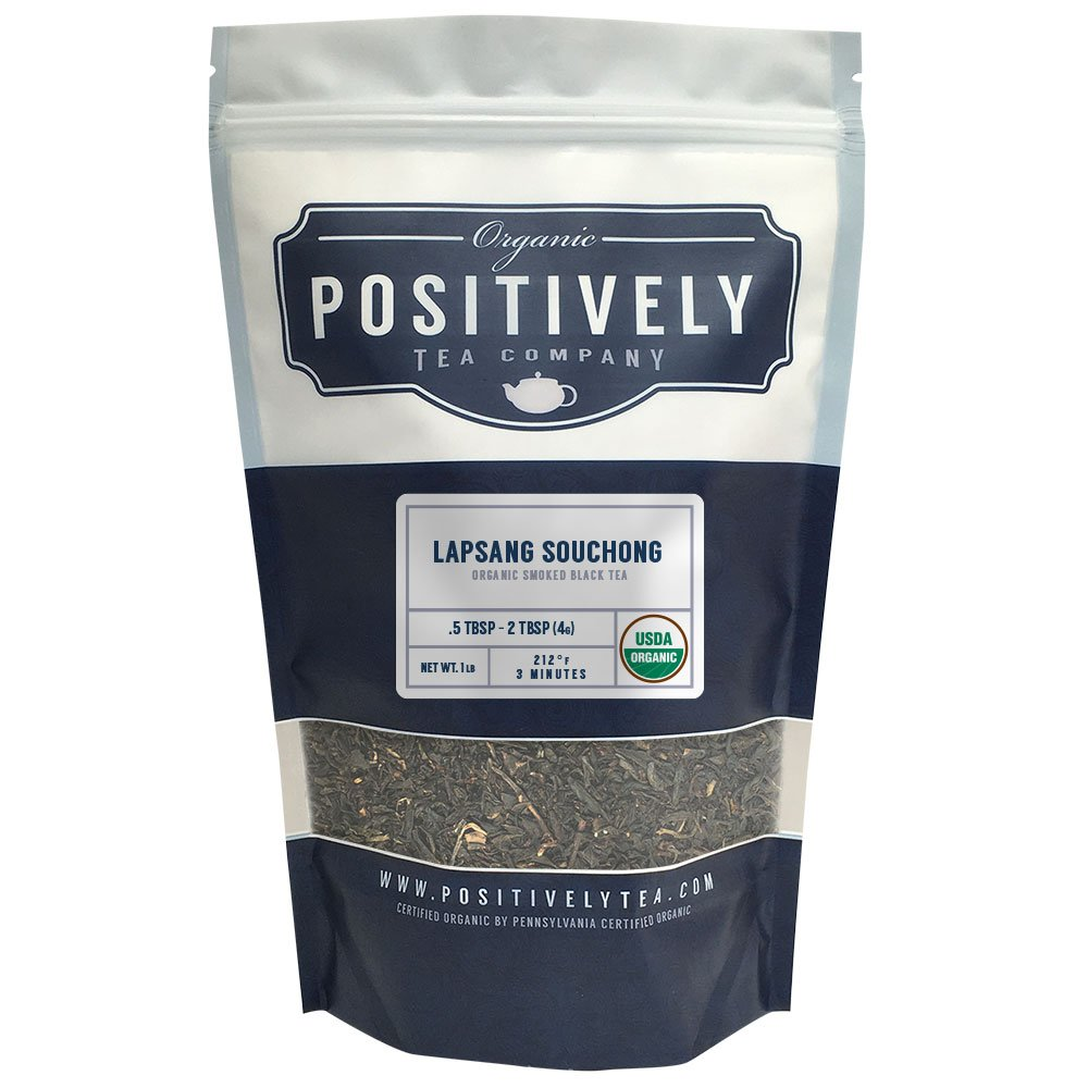 Positively Tea Company, Organic Lapsang Souchong, Black Tea, Loose Leaf, USDA Organic, 1 Pound Bag