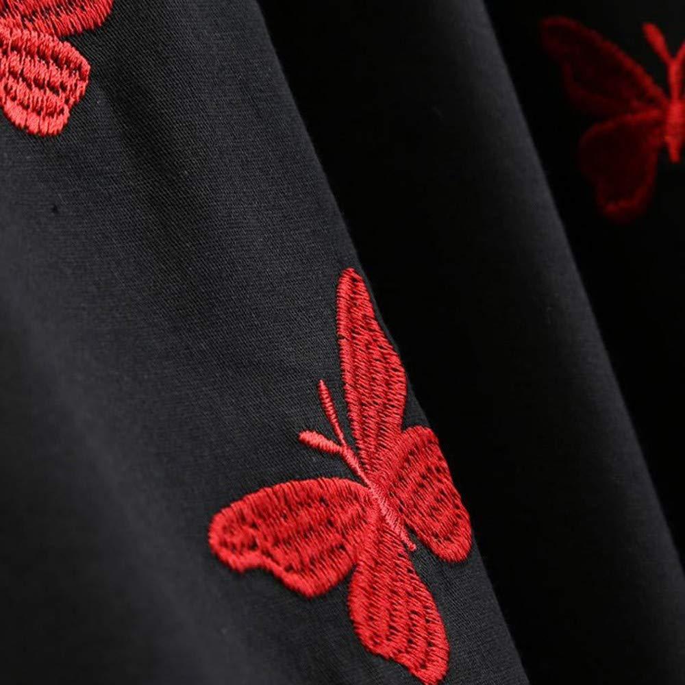 Longra Damen Elegant Audrey Hepburn Kleid mit Schmetterlingsdruck Abendkleid Partykleider Cocktailkleid Damen 50s Retro Vintage Rockabilly Kleid Petticoat Faltenrock Langarm Retro Kleid