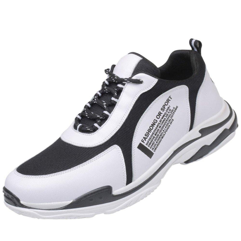 Calzado Deportivo De Los Hombres Unisex Zapatos Casuales De Los Hombres Zapatos De Cabeza Transpirable De Cuero Plano Redondo Transpirable 43 EU|White