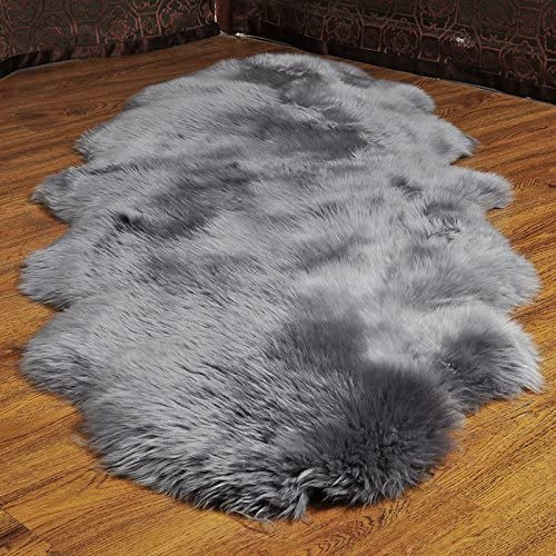 HUAHOO Genuine Sheepskin Rug Real Sheepskin Blanket Natural Fur Double 2ft x 6ft, Silver Grey