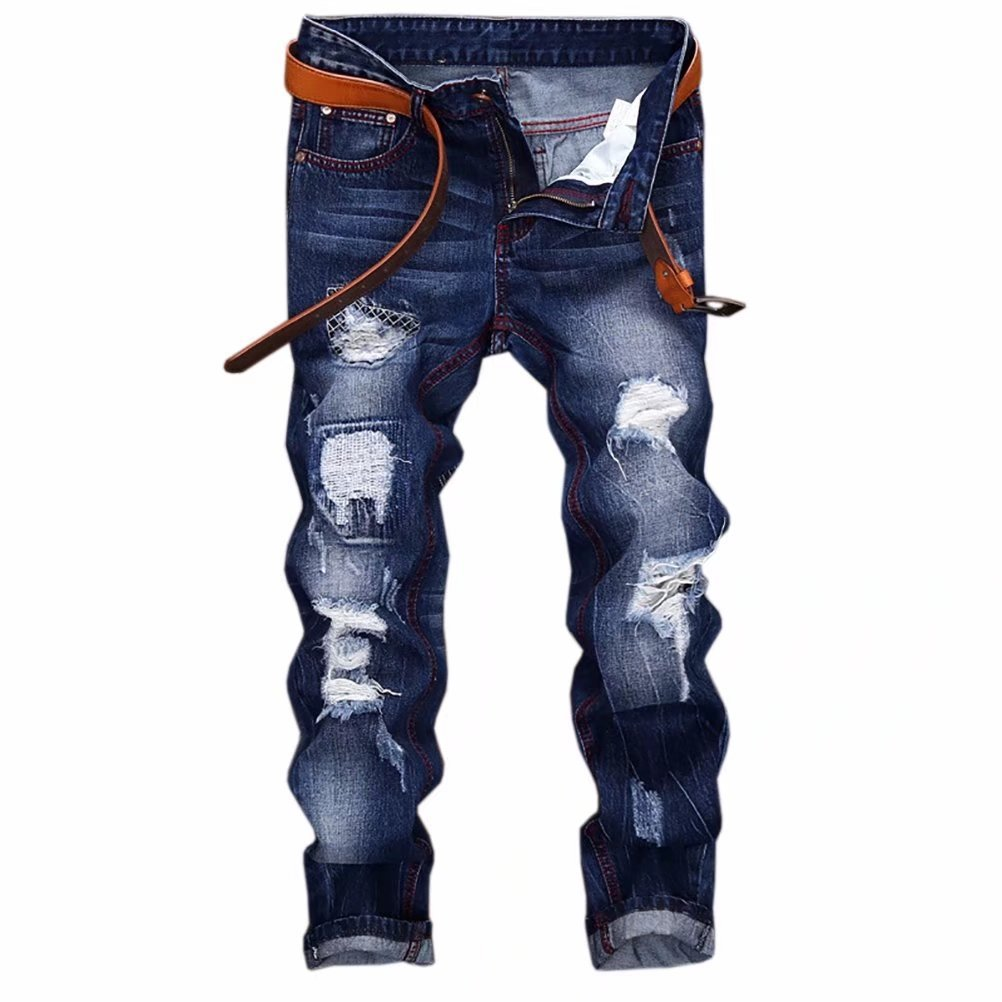 Kmety Men's Distressed Destroyed Fashion Fit Jeans