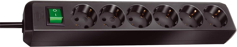 Regleta con 6 Tomas Interruptor Color Negro Brennenstuhl 149908
